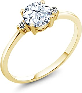 10K Yellow Gold Engagement Solitaire Ring set with 1.23 Ct White Created Sapphire and White Diamonds (Available 5,6,7,8,9)