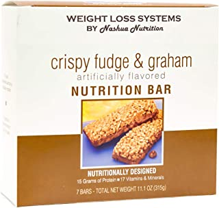 Weight Loss Systems Protein Bar - Crispy Fudge & Graham (7/Box) - High Protein and Fiber - Low Fat - Kosher