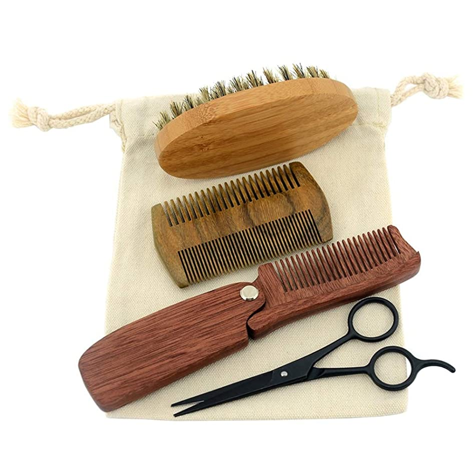 Men Shaving Bristle Bamboo Brush Kit Mustache Beard Scissor Shear Natural Sandal Wood Folding Comb Canvas Bag