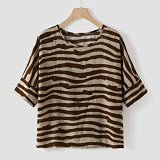 84e225ce0a4c Blusa Mujer De Verano,Mujeres Cuello Redondo Corto Batwing Manga Algodón  Lino Vintage Tops Camiseta