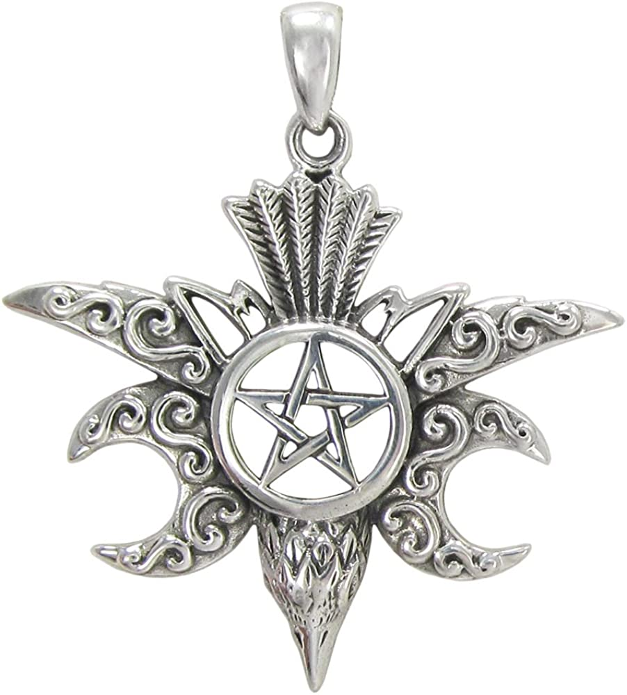 Sterling Silver 5 ☆ very popular Moon Max 71% OFF Raven Pentacle Pendant Crow