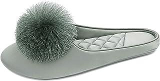 BCTEX COLL Women's Cute Tassel Pom Pom Home Slippers Velvet/Satin Fabric Indoor Slippers Memory Foam Casual House Shoes