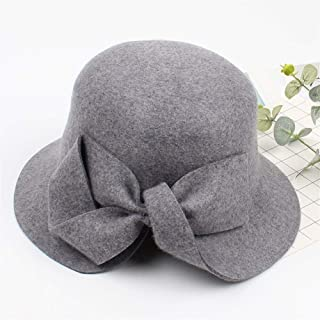 ZWHMZ Hat Female Autumn and Winter New Wool Asymmetric Bow Fisherman hat 2018 Korean Version of The Retro Fashion Wild Cap (Color : Grey, Size : Adjustable)