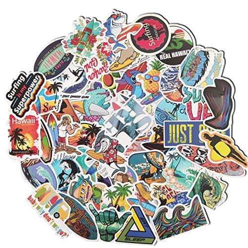 CHENX Pegatinas para Casco de Surf de Verano con Personaje de Dibujos Animados, Funda para teléfono móvil con monopatín, Pegatinas Impermeables para Coche, 50 Uds.