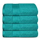 TRIDENT Soft and Plush, 100% Cotton, Highly Absorbent, Super Soft, 4 Piece Bath Towel Set, 500 GSM, Teal