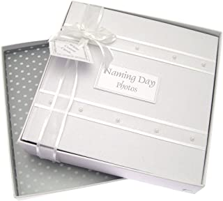 White Cotton Cards Naming Day - �lbum de fotos para bautizo (tamaño mediano), color gris