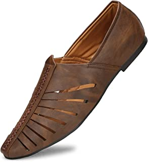 Emosis Mens Loafer Shoe - Synthetic Leather Slip-on Sandal - for Outdoor Formal Office Party Casual Ethnic Daily Use - Available in Tan Brown Black Blue White Color - 424M
