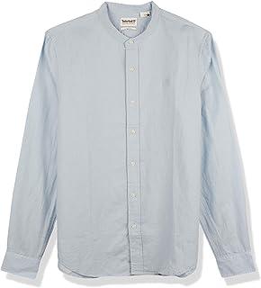 TIMBERLAND Men's L-R LS Solid Linen Shirt, Blue (Skyway), Medium