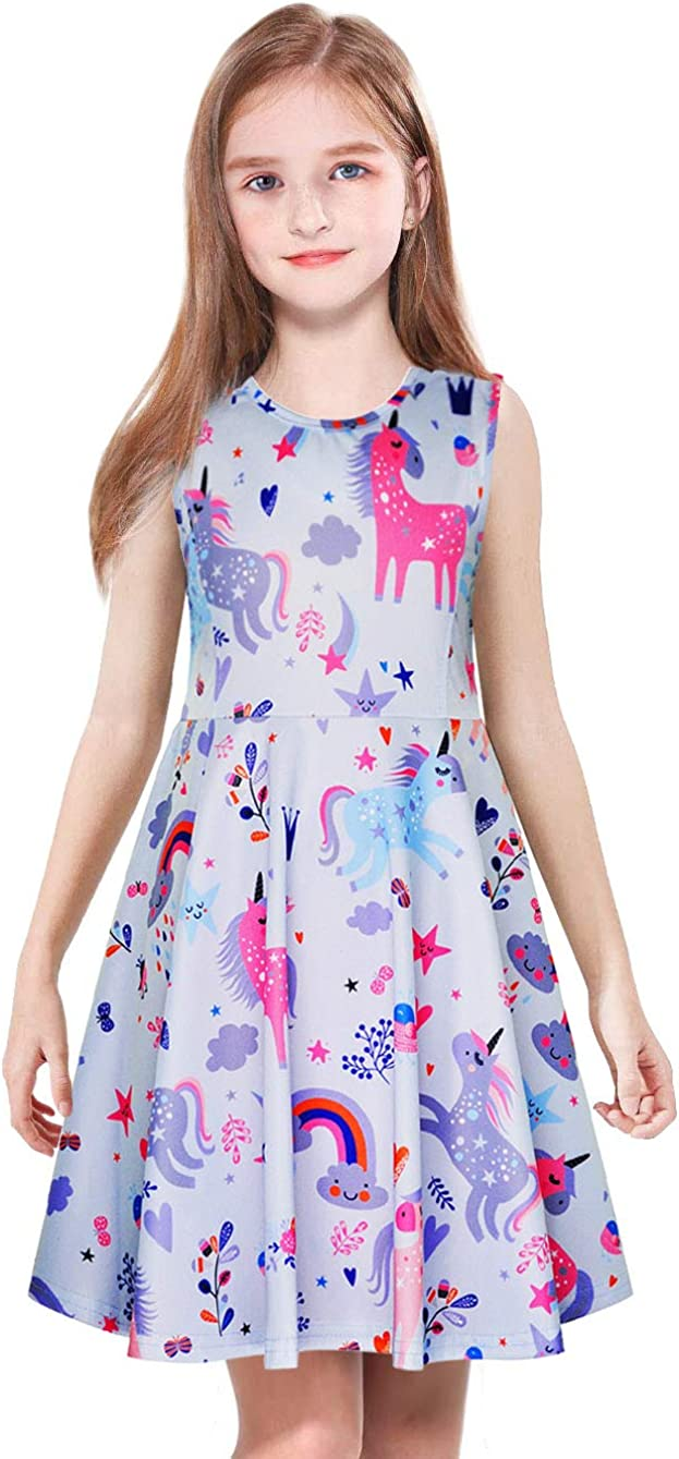 ModaIOO Girls Casual Dress,Unicorn Dinosaur Mermaid Butterfly Print,Long/Short Sleeve/Sleeveless Knee/Maxi Dresses for Kids