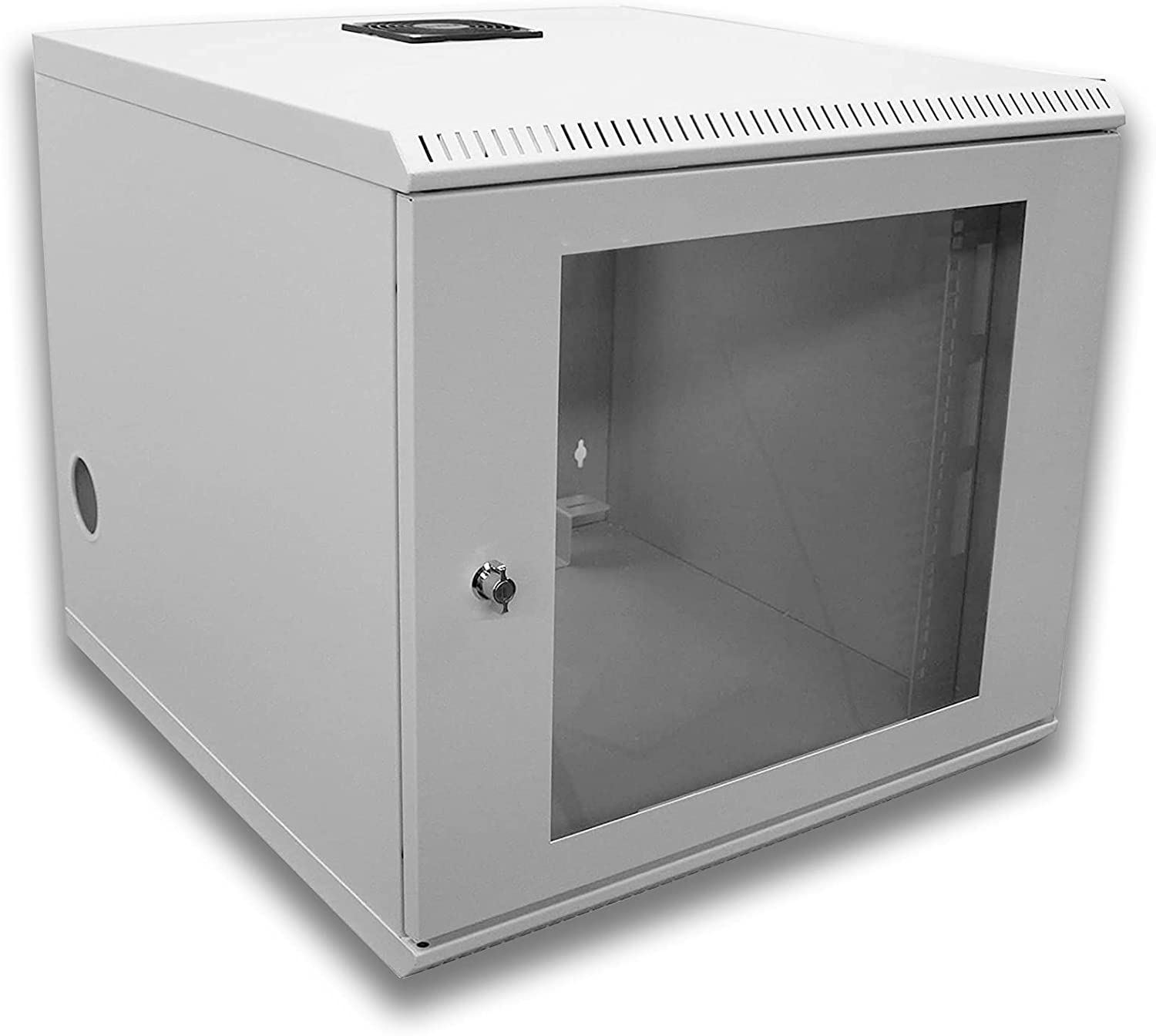 10U Beige Mounting Equipment Rack Cabinet with Locking - 2 Post Wall Mount Network Switch Cabinet.