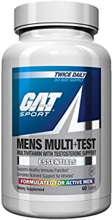 GAT Sport Mens Multi + Test, Premium Multivitamin and Complete Testosterone Boosting Support with Tribulus Terristis, 60 T...