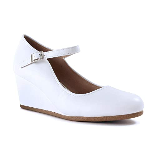 e5d925a348af9 White Low Wedge Heel Shoes: Amazon.com
