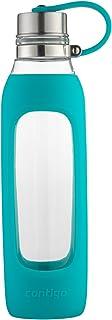 Contigo Purity Glass Water Bottle 20oz Scuba Blue w/ Silicone Sleeve & Steel Cap