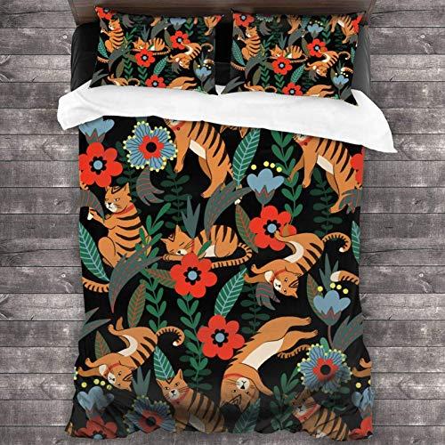 AEMAPE 86'x70' Juego de Cama Microfibra 100% Suave Tigre y Flores Bedding Sábanas Pareja DE Almohadas