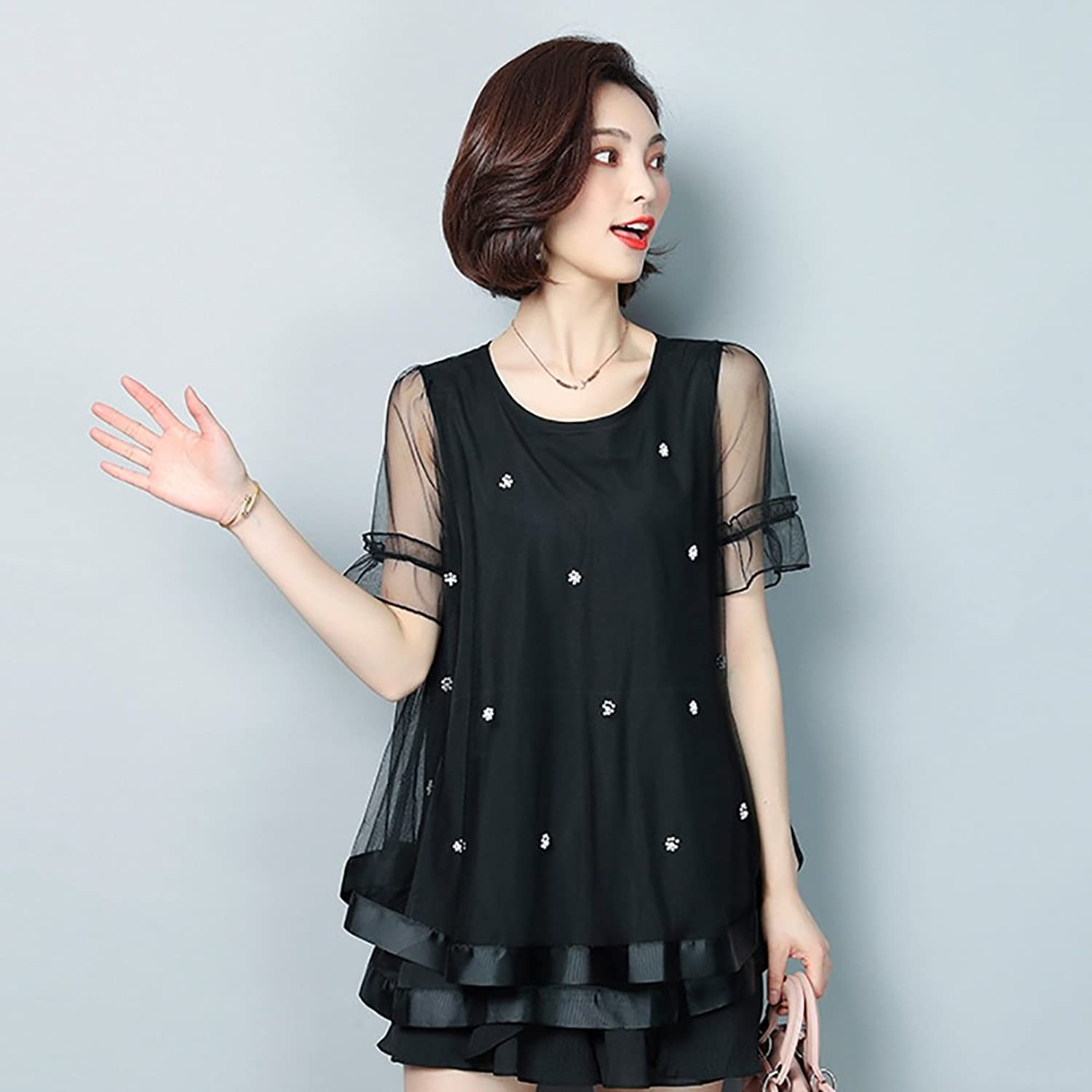 Women Dress 2018 New Loose Doll Clothes Nail Beads Small Shirt Top Mini Party Evening Cocktail Reference Size Table