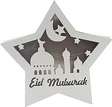 Colcolo Lâmpadas Islâmicas Muçulmanas Do Ramadã Enfeite Estrela de Madeira Eid LED Luzes Noturnas Interna E Externa - Branco