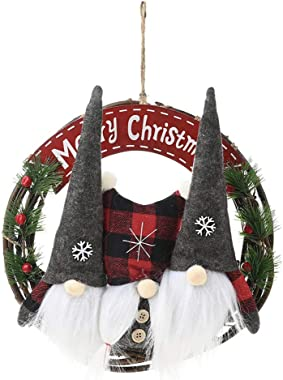 Xiaoshst Christmas Decoration, Christmas Garland Ornaments, Christmas Wreath Garland Hanging Ornament Decoration Rattan Gnome for Door Wall Decor