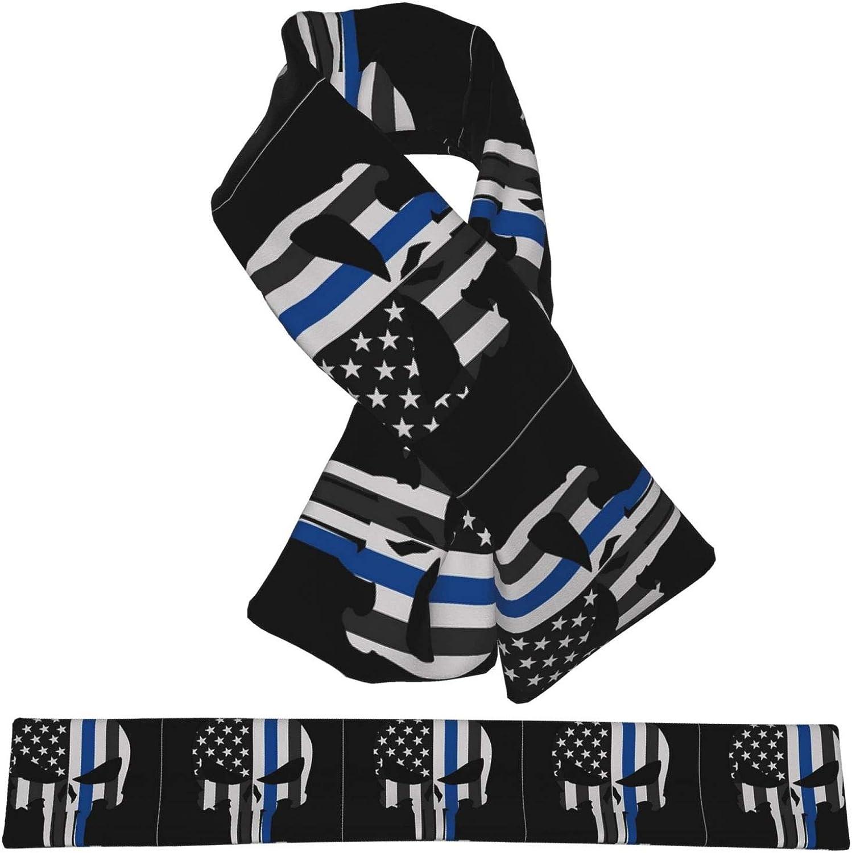 Winter Scarfs Thin Blue Line Skull Scarves Wraps Neck Warmer Flannel Winter Cross Tie Scarves