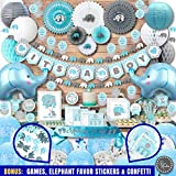 Mega Set Elephant Baby Shower Decorations for Boy It's A BOY Banner, Napkins, Straws, Paper Decorations, Cake Toppers, Sash, Balloons, Favor Stickers, Guest Book, Confetti, Games | Blue Grey White
