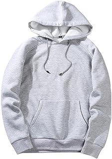 RYTEJFES Sudadera básica con capucha para hombre, de un solo color, con bolsillo canguro, para otoño e invierno, con capuc...