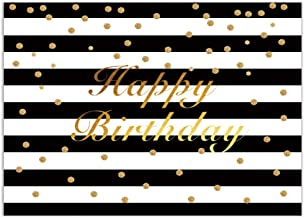 Allenjoy Happy Birthday Backdrop 7x5ft Black and White Stripes Gold Floral Women Birthday Photography Background Girls Sweet 16 Party Decoration Banner Photo Studio Booth Props