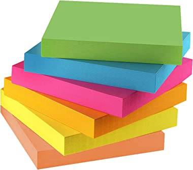 Sticky Notes 3x3 - Strong Self-Stick Note Pads, 6 Pads Stickies Notes in Blue, Pink, Yellow, Orange, Rose, Green Colors, 600