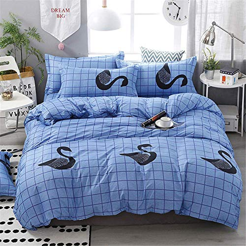 352 FUKAN Blue Plaid Print Duvet Cover Pillowcase Bedding Set Queen King Size Home Textile A 150x200cm/59x79in
