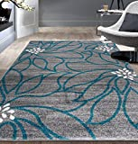 Contemporary Large Floral Soft Area Rug 7' 10' x 10' Blue