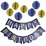 Happy Birthday Banner Party Decorations with 8 Tissue Paper Pom Pom Balls – Premium Quality Blue Bunting Banner With Shiny Gold Letters – Party Supplies – for Kids and Adults