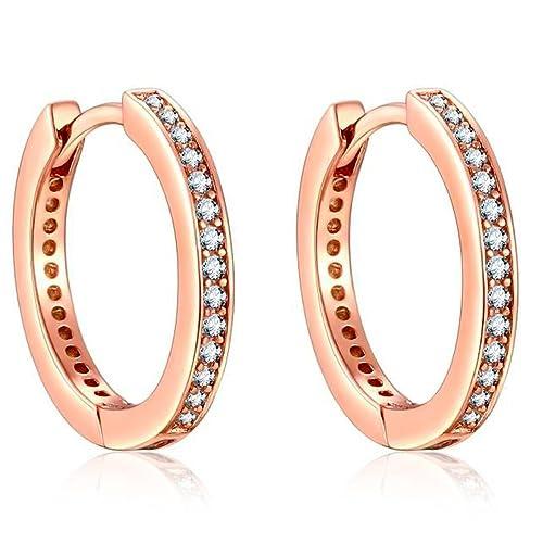 b02c9bdc3640 Presentski Pendientes de aro de plata de ley 925 oro rosa con circonita  cúbica imitación diamante