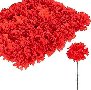 Larksilk Red Silk Carnation Picks, Artificial Flowers for Weddings, Decorations, DIY Decor, 100 Count Bulk, 3.5