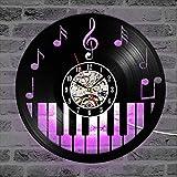 GodyGT Reloj de Pared de Vinilo, Teclado de Piano, Nota Musical, Disco de Vinilo, decoración del hogar, Arte, cumpleaños, Reloj de Noche Colgante