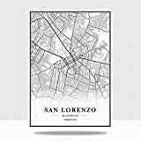JWJQTLD Leinwanddruck Paraguay City Maps Leinwandbilder
