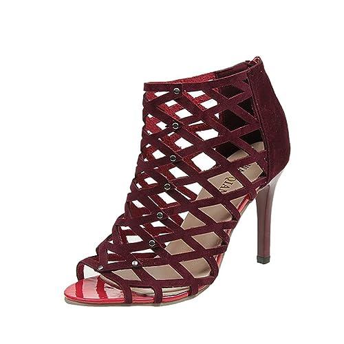 8489faeec0f4 OverDose Women s Fashion Peep Toe High Heels Shoes Rivet Roman Gladiator  Sandals