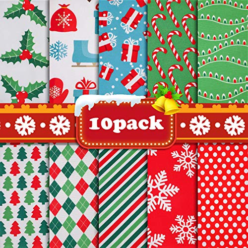 "10 Pieces Christmas Cotton Fabric Bundles 19.68""x19.68"", Fat Quarters Craft Sewing Squares Bundle Multi-Color Patchwork Gift Wrapper for Christmas DIY Quilting"