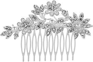 مشط شعر الزفاف من العلامة التجارية KaLaiXing مع رأس رأس رأس الزفاف بلآلئ كريستال ورأس وصيفة العروس