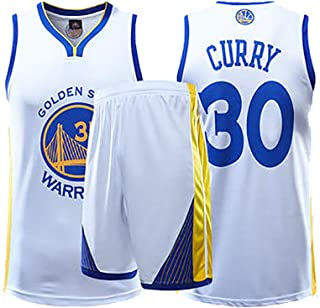 FSBYB Hommes Maillots Set Golden State Warriors # 30 Stephen Curry Basketball Maillots Swingman Manches T-Shirt et Shorts,Noir,S