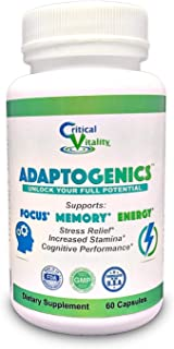 Adaptogenics | Adrenal Support and Nootropic for Focus, Memory and Energy with Rhodiola Rosea, Ashwagandha, Ginkgo Biloba, Green Tea, Ginseng in 60 Vegan Capsules by Critical Vitality