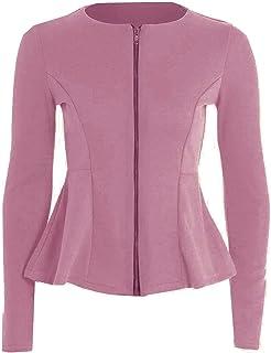 Momo&Ayat Fashions Ladies Zip Peplum Ruffle Tailored Blazer Jacket UK Size AUS 8-26