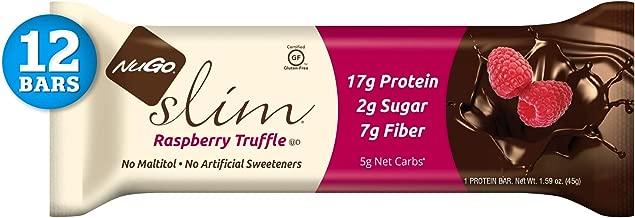 NuGo Slim Dark Chocolate Raspberry Truffle, 17g Protein, 2g Sugar, 7g Fiber, 160 Calories, Low Net Carbs, Gluten Free, 12 Count