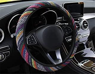 Flax Steering Wheel Cover, Absorb Sweat Breathable Anti-Slip No Smell Exquisite Wiring Four Seasons Universal Multiple Col...