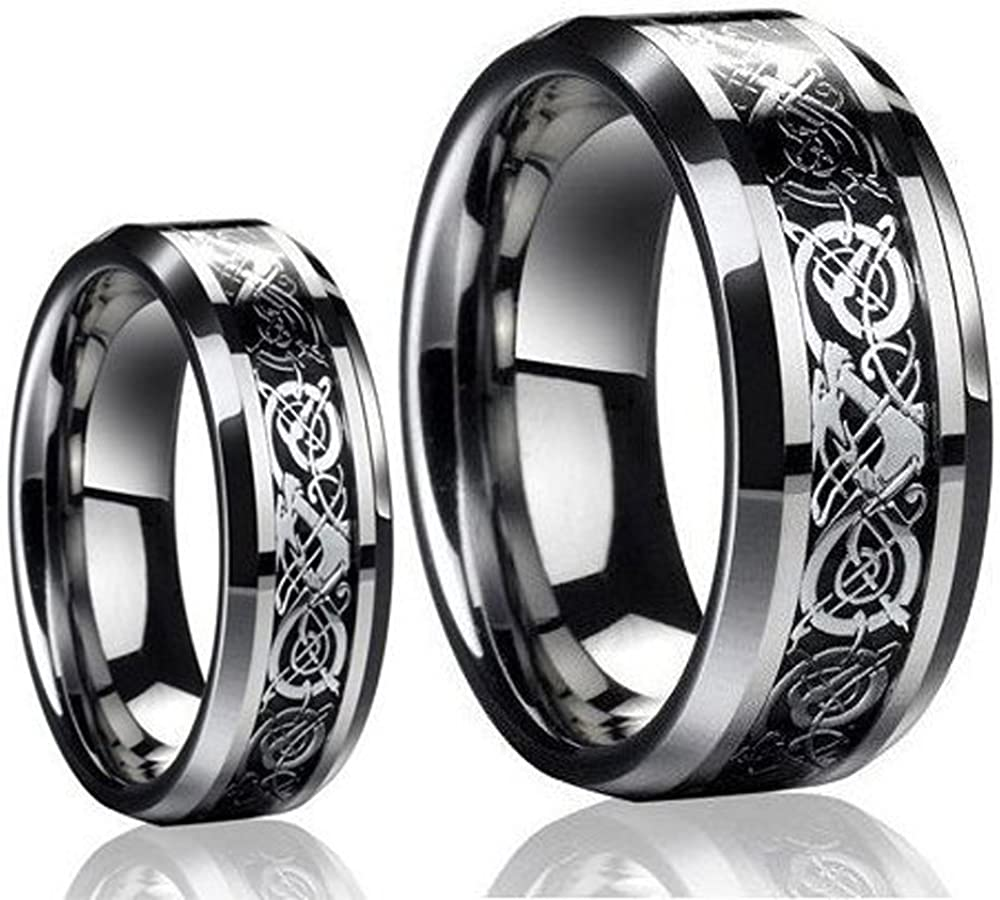 Ring for Men and Ring for Women His & Her's 8MM/6MM Tungsten Carbide Celtic Knot Dragon Design Carbon Fiber Inlay Wedding Band Ring Set Wedding Band Ring Ideal Rings for Couples