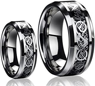 Ring for Men and Ring for Women His & Her's (1 Pair) 8MM/6MM Tungsten Carbide Celtic Knot Dragon Design Carbon Fiber Inlay Wedding Band Ring Set