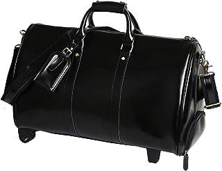 Leathario Herren Damen Weekender Reisetasche Handgepäck mit Rollen für 13.3 Zoll Laptop aus Leder Retro Freizeit 51  24  29.5CM  Schwarz