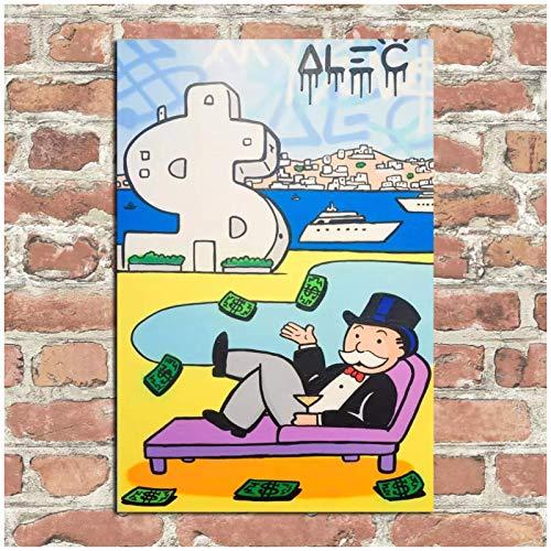 Mxibun Impresión Hd Alec Simpson Decoración Para El Hogar Arte De La Pared En Lienzo Monopoly Poolside Antorini Canvas Printings-50X75Cmx1 Sin Marco