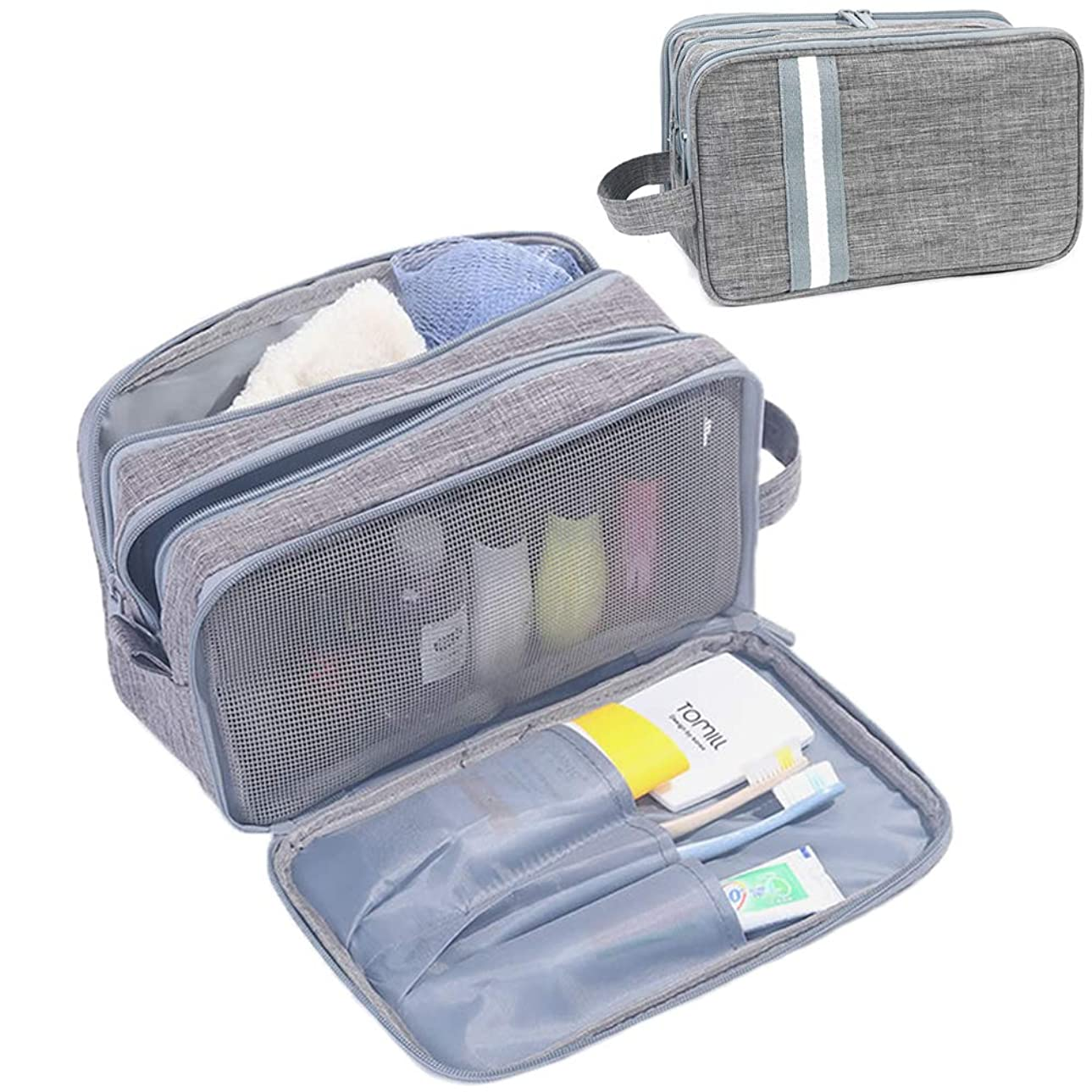バッグまたね崩壊化粧ポーチ トラベルポーチ ウォッシュバッグ 旅行用収納バッグ 旅行グッズ 化粧品バッグ 乾湿両用大容量ハンドバッグ 出張 海外 旅行 男女兼用