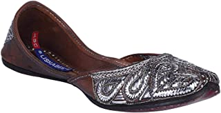 MSC Leather Ethnic Brown Flat Bellie for Women