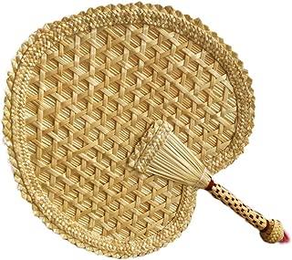 EASYANT Pure Hand-Woven Wheat Straw Fan Elderly Summer Natural Hand Rocker Fan - Heart Fan