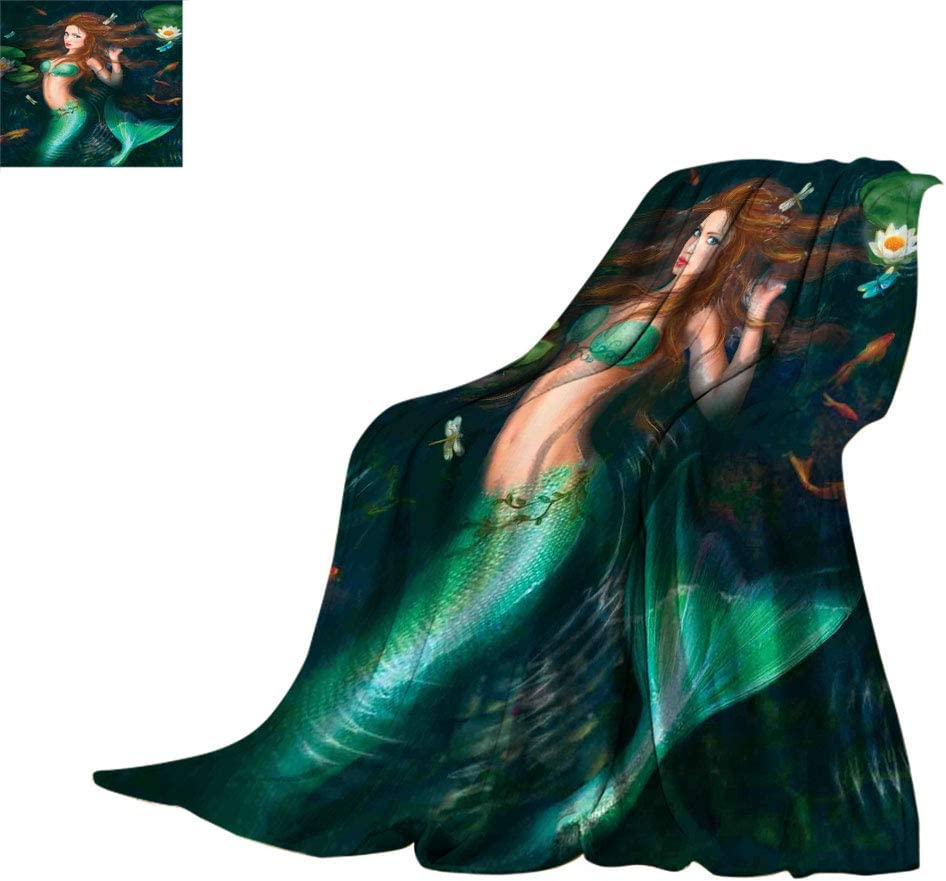 Mermaid Decor Fuzzy Throw Blankets ◆セール特価品◆ with 希望者のみラッピング無料 Fantasy Lake in