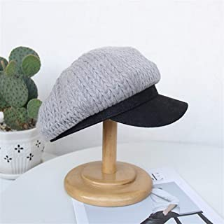 SHENTIANWEI British Retro red mesh Cap Female Autumn and Winter Woolen Knit Octagonal Cap Newsboy caps Twist Fashion PU Splicing (Color : Grey, Size : Adjustable)